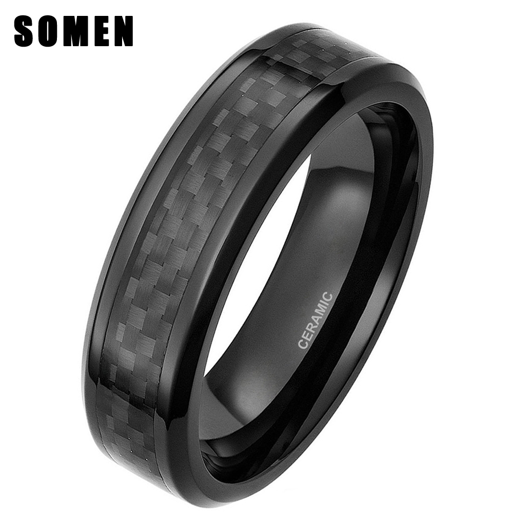 Somen Ceramic Men's Wedding Rings Black Carbon Fiber Inlay Men Engagement Ring Male Fashion Jewelry In Bands From Accessories On: Male Wedding Bands Carbon Black At Reisefeber.org