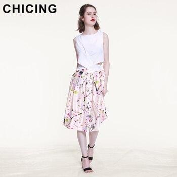 CHICING 2018 Summer Women Skirt Vintage Peach Blossom Floral Print High Waist Ball Gown Pleated Midi Skater Skirts Saias A148012 1