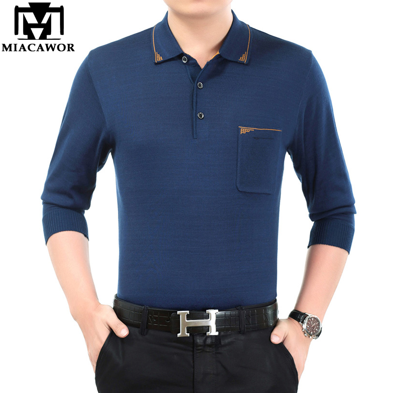 MIACAWOR 2019 New   Polo   Shirt Men Solid Color Men   Polo   Spring Full Sleeve knitting Sweatshirts Men Top Tee T698