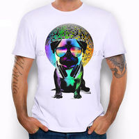 Мопса милые животные Солнцезащитные очки для женщин музыка DJ Disco смешная шутка Для мужчин футболка