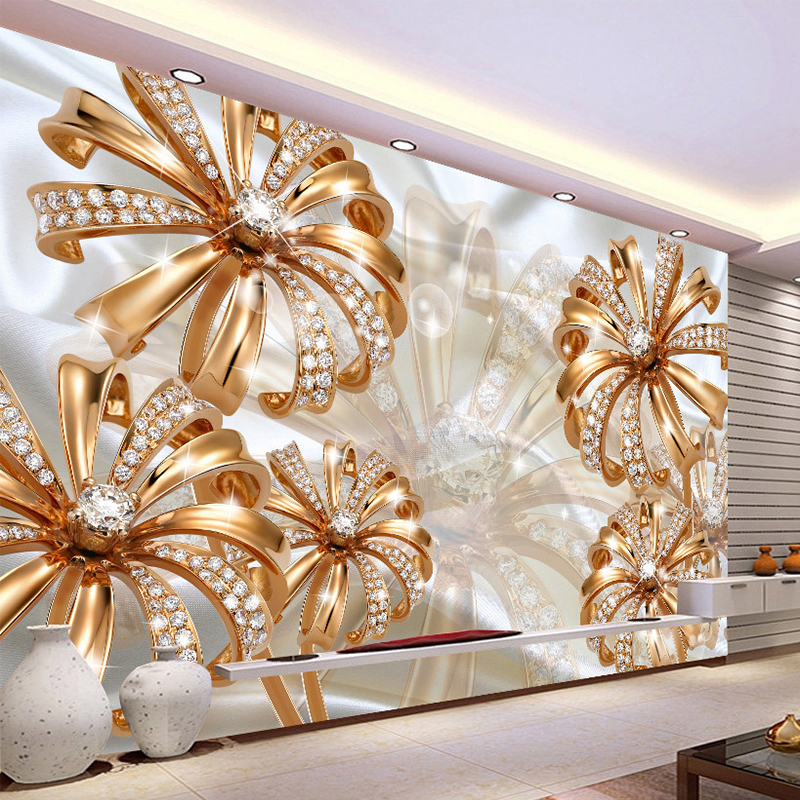 Custom Photo Wallpaper 3D Stereo Gold Diamond Flower Jewelry Mural Living Room TV Sofa Background Wall Luxury Papel De Parede 3D custom photo wallpaper 3d stereo european flower pattern living room bedroom hotels ceiling wall mural wallpaper for walls 3 d