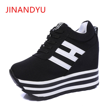 Wedge Platform Shoes Canvas Height Increasing Sneakers 2019 New Lace-Up Casual Woman Vulcanized Shoes lady 9CM High Heel Sneaker 2018 new women height increasing sneakers spring summer platform wedge heel brand lady walking shoes red black white