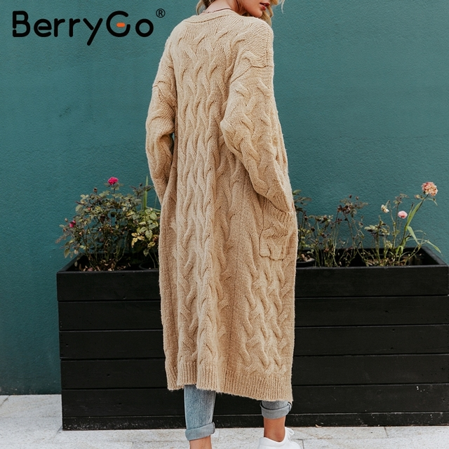 BerryGo Vintage mohair long cardigan women sweaters female Long sleeve pocket winter cardigans Casual knitwear knitted jumpers 5
