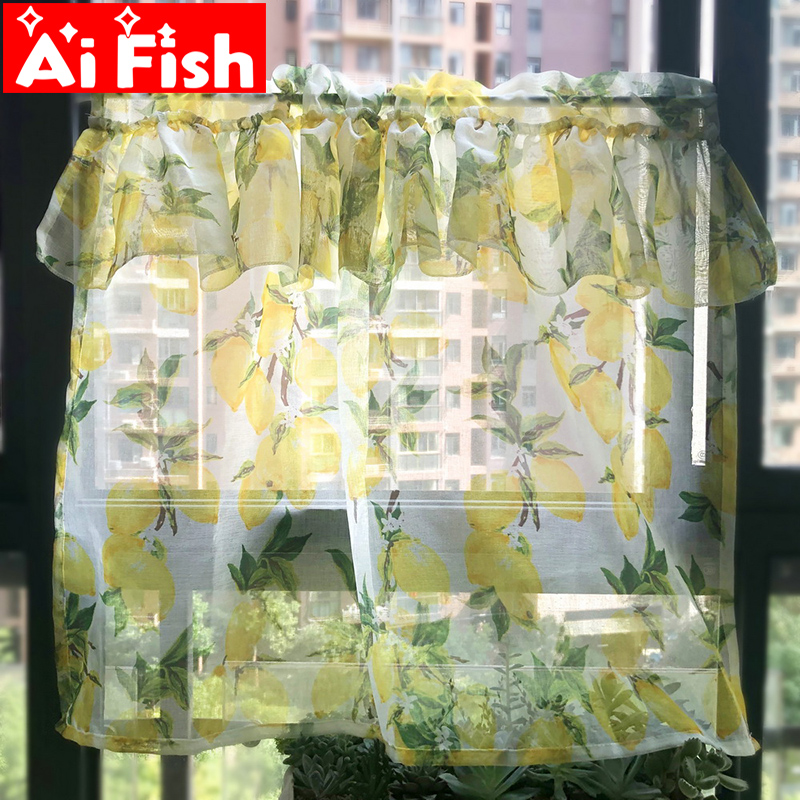 Pastoral Style Yellow Lemon Lace Print Kitchen Decoration Short Curtain Screen Tulle Drape Curtain For Living Room Bay Window #4