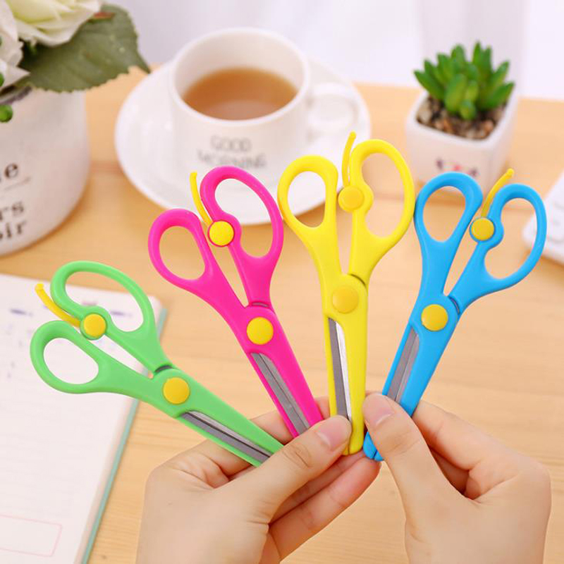 2 Pcs/set Kawaii 137mm Mini Safety Round Head Plastic Scissors Student Kids Paper Cutting Supplies For School Stationery Gifts