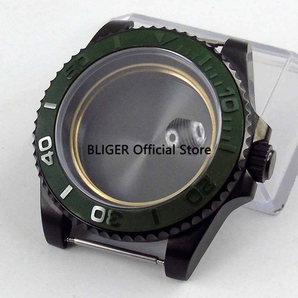 Solid 40mm 316L stainless steel black pvd coated green ceramic bezel watch case fit for ETA 2824 2836 Automatic Movement C1-B watch parts 41mm watches case for wristwatch black pvd coated cases fit for eta 2836 2824 automatic movement ca2010cap