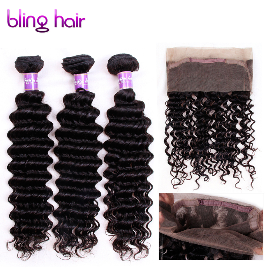 Bling Hair Peruvian Deep Wave Bundles with 360 Lace Closure With Baby Hair Non Remy Human Double Weft Extensions Natural Color-in 3/4 Bundles with Closure from Hair Extensions & Wigs    1