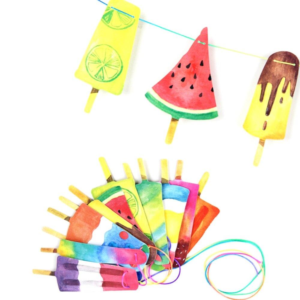 Handmålade Färgglada Popsicle Banner Tillbaka till skolan / - Semester och fester