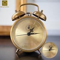 Retro Creative Bell Alarm Clocks Antique Bedside Vibrating Clocks Mechanical Alarm Timer Despertador Vintage Table Clock WKJ042