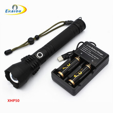 50000 lumens xhp50 powerful LED Flashlight USB Telescopic Zoom hunting light Aluminum camping for 18650 Rechargeable battery