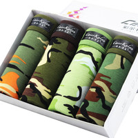 2017 New Brand Men Underwear Boxer Fashion Camouflage Print Boxers 4pcs Package Hot Sale High Quality