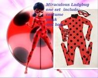 Kids Zip The Miraculous Ladybug Cosplay Costume Halloween Girls Ladybug Marinette Child Lady Bug Spandex