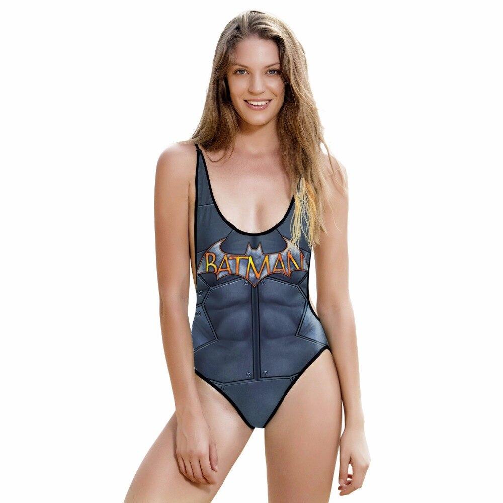 New 015 Sexy Girl Summer Muscle Batman Superhero Prints One Piece Swimsuit Monokini Straps Backless Women Swimwear Bathing Suit