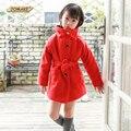 Новый Год Девушки Шерстяное Пальто 2017 Зима Дети Мода Теплое Пальто Рождество Красный Ветровка Пояса Верхней Одежды Европейский Стиль Детская Одежда