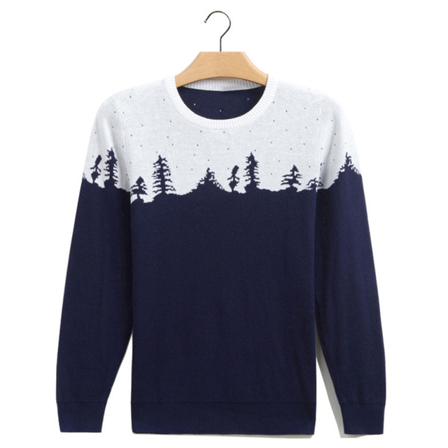 Homens Sweaters Pulôver Dos Homens 2016 Marca da Neve do Inverno Impresso Masculino Magros Ocasionais Camisolas O-pescoço Patchwork pullovers camisola puxar homme