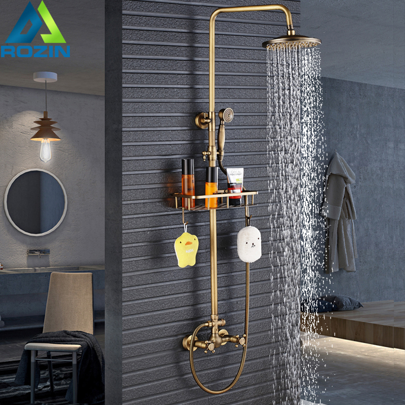 European Style Antique 8 Rainfall Shower Faucet With Commodity Shelf Dual Handles Shower Mixer Kit Brass Storage Rack
