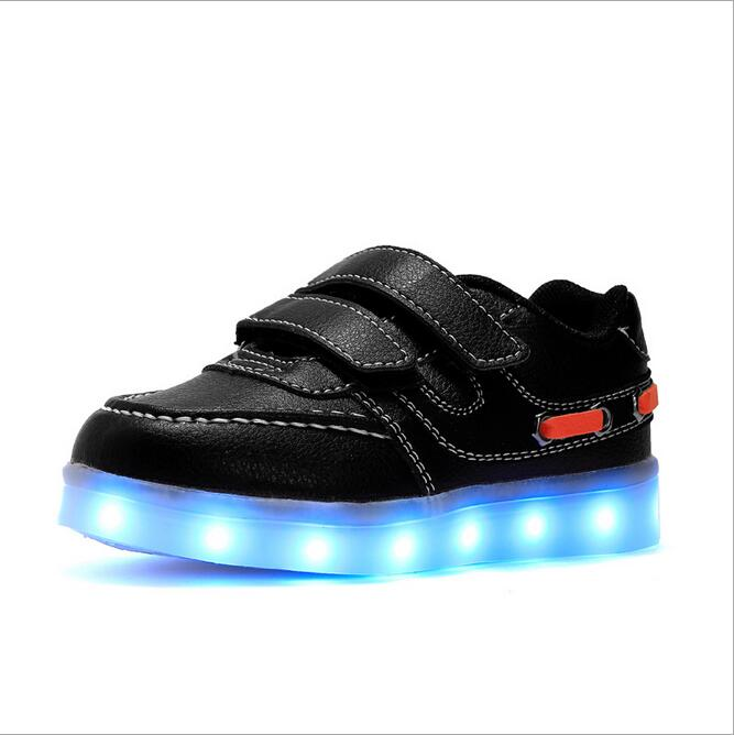 PU Glowing Sneakers LED Light Shoes Kids Boys Girls Toddler/Little Kids/Big Kids Flashing Sport Flash Board Rechargeable Color glowing sneakers usb charging shoes lights up colorful led kids luminous sneakers glowing sneakers black led shoes for boys