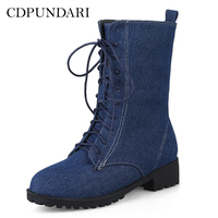 62bd3401ec75 CDPUNDARI Lace Up Ankle boots for women Winter Platform boots Ladies  Motorcycle boots shoes woman