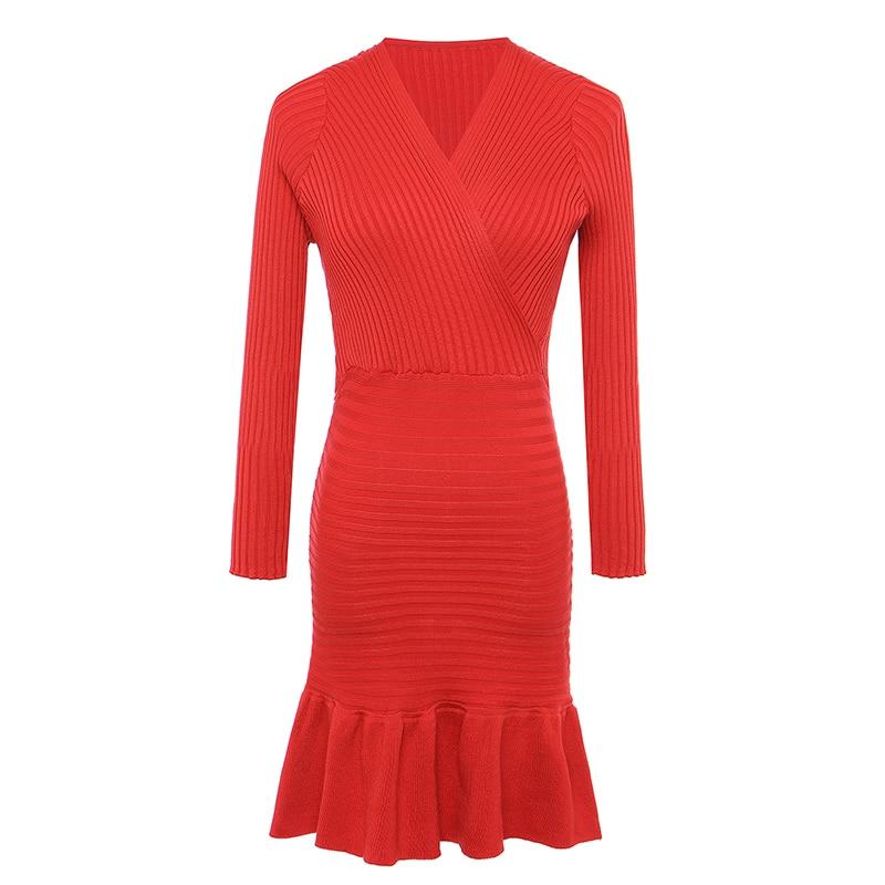 New Women Christmas Red Winter Sexy Deep V-neck Low Cut Knitted Sweater Dress Ladies Fashion Ruffles Striped Dress vestidos