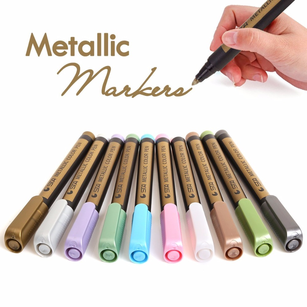 STA 10 Color Set Metallic Art Markers DIY Scrapbooking Crafts Watery Markers Pen Light Pen For Black Card Paint Mark MessageSTA 10 Color Set Metallic Art Markers DIY Scrapbooking Crafts Watery Markers Pen Light Pen For Black Card Paint Mark Message