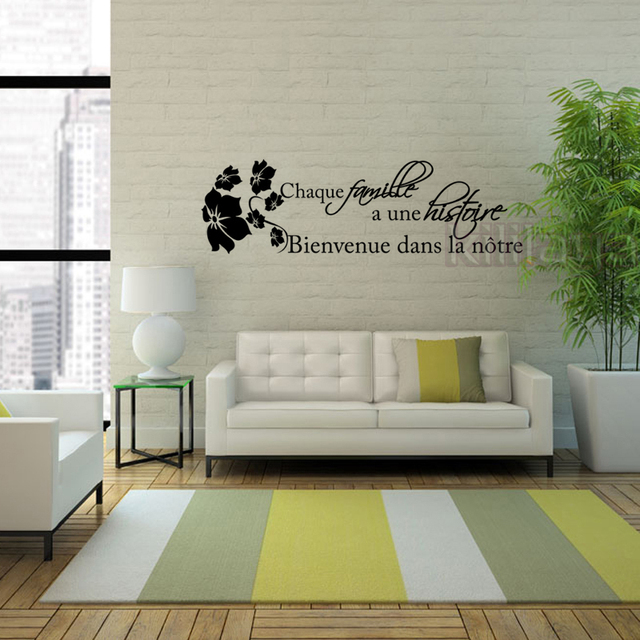 French Quotes Citation Histoire De Famille Vinyl Wall Stickers Decals Art  Wallpaper For Living Room Home