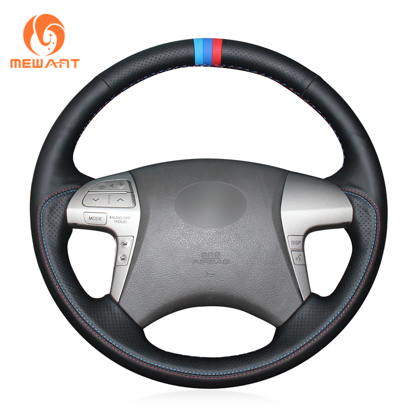 MEWANT Black Genuine Leather Car Steering Wheel Cover for Toyota Highlander 2009-2014 Camry 2007-2011