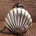 New Arrival Bronze Lovely Shells Necklace Pendant Quartz Pocket Watch Chain Women Lady Girl Best Gift P25