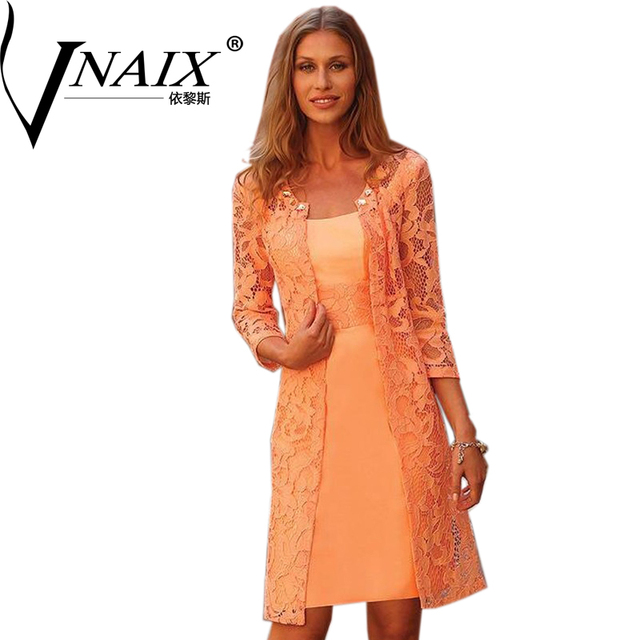 40d80d093db MBD020 Knee Length Lace Mother of the Bride Autumn Dresses with Jacket  Mid-Calf Wedding Guest Dress vestidos de mae do noivo