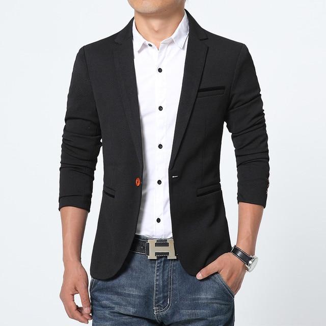 FGKKS New Arrival Luxury Men Blazer New Spring Fashion Brand High Quality Cotton Slim Fit Men Suit Terno Masculino Blazers Men 1