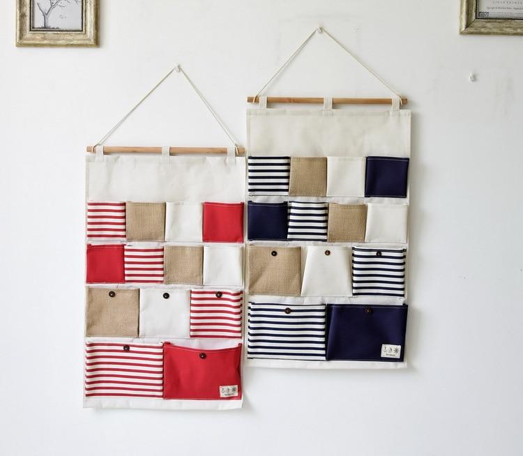 Červená a modrá 13 kapes Nástěnné zavěšení tašky Vícevrstvé zdi Sundries Organizátor Dveře Drobnosti Organizér Nástěnné zavěšení Úložná taška