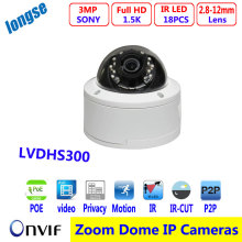 3MP POE IP Camera Varifocal Lens 2 8 12mm Dome Vandalproof Indoor Full HD ONVIF IOS