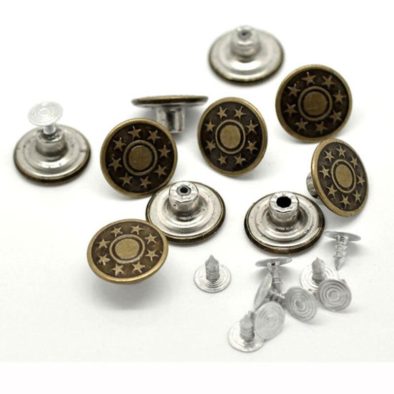 50 комплектов, бронзовые металлические пуговицы со звездами