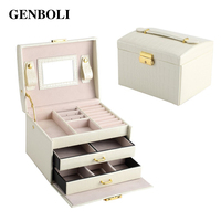 GENBOLI Jewelry Box Rings Bracelet Leather Jewelry Casket Organizer Display Makeup Storage Drawers Box Case with Mirror