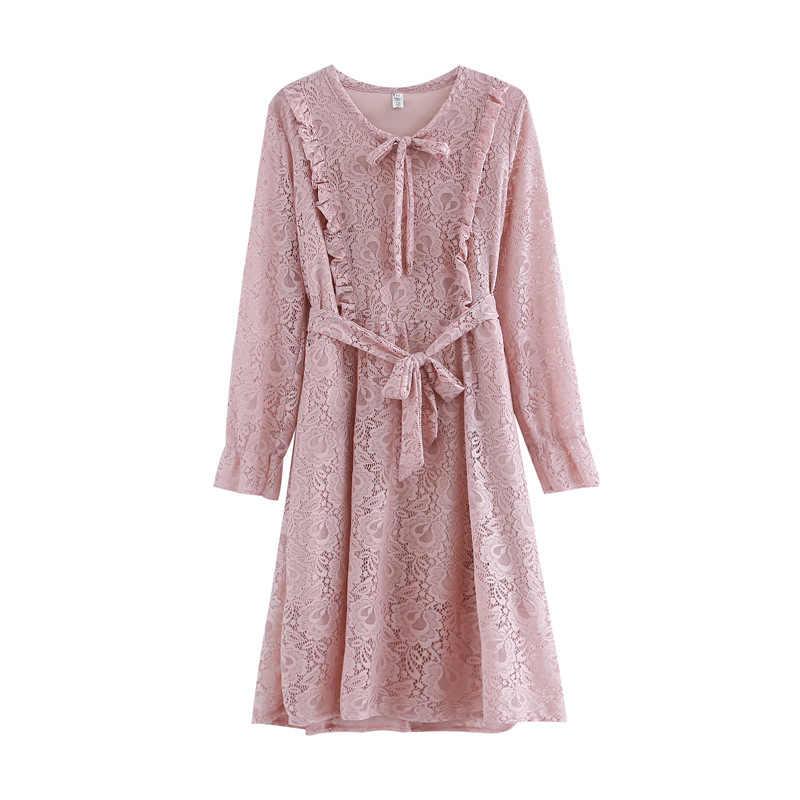 ヴィンテージレトロな甘いロリータヒッピー自由奔放に生きるボヘミアンロカビリーレース刺繍かぎ針編みローブフェムセクシー女性長袖春ドレス