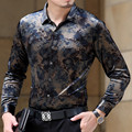 Spring Autumn Men's Long Sleeved Business Casual Shirt Flower Print Top Fashion Pleuche Silk Shirts Slim Fit High Quality