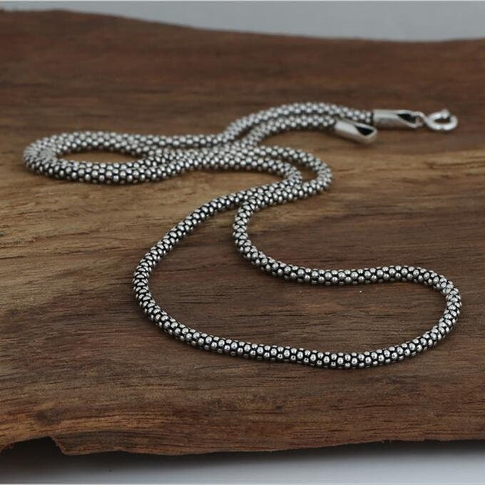 Dia 3mm Silver 925 long Rope Chain Necklace For Jewelry Making 100% Real Solid 925 Sterling Silver Material Top Craft, 45cm~80cm