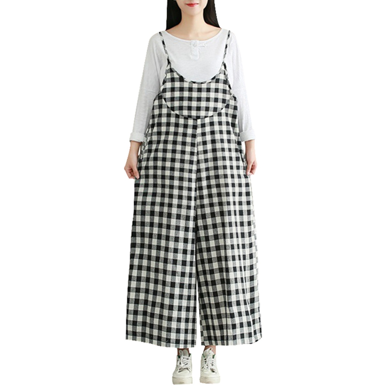 Plus Size M-2XL Women Check Plaid Dungaree Jumpsuits Overalls Vintage Strappy Casual Loose Harem Pants Long Trousers