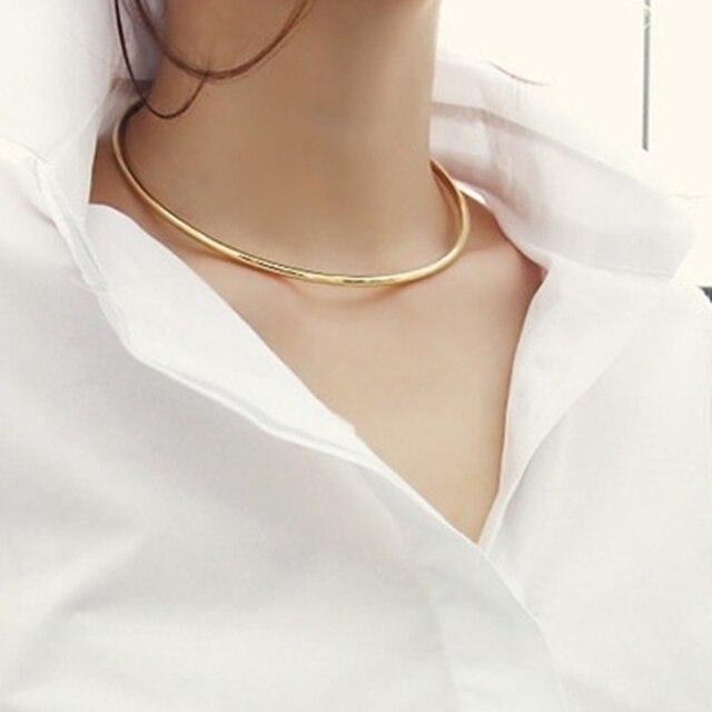 2016 New Trendy złoty srebrny okrągły metalowy łańcuch koło Choker naszyjnik dla kobiet Sexy krótka szyja obroże modna biżuteria na prezent XX90