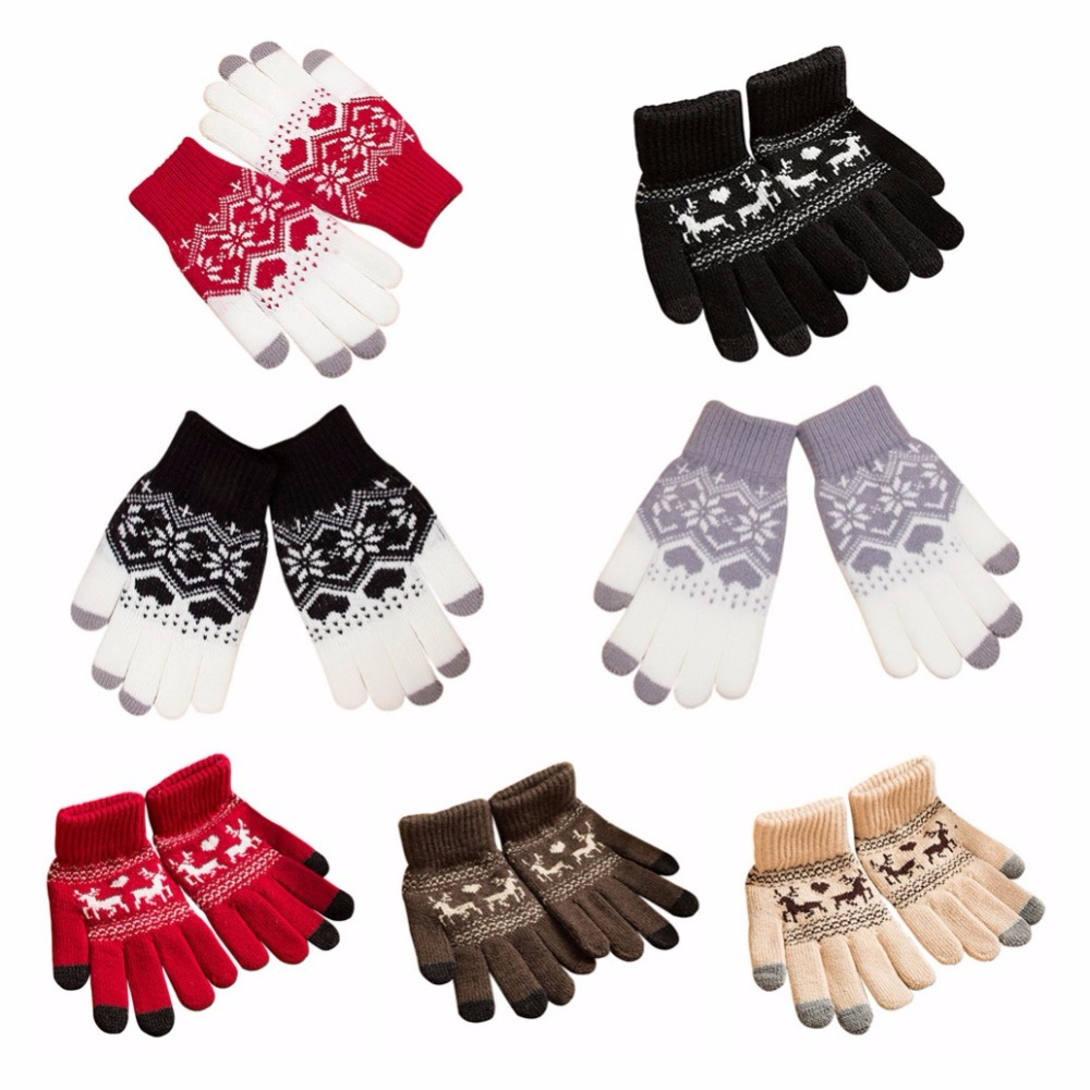 Multi-Colors Women Girls Winter Warm Gloves Touch Screen Knitted Thicken Gloves