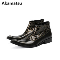 2018 Botas militares classic patent genuine leather high top army shoes mens dress boots plus size rain boots men pointed toe