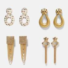 Dvacaman ZA Metal Statement Earrings Long Tassel Drop Earrings Women Geometric Maxi Pendant Earrings Wedding Jewelry Christmas