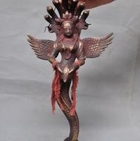 Old Tibet Buddhism Temple Bronze 7 Snake Heads Naga Kanya Kwan yin Buddha Statue