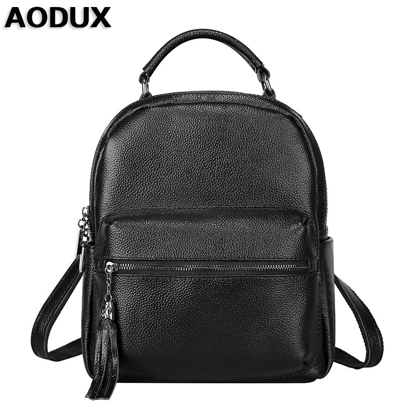 AODUX Backpacks Soft Genuine Leather Women Ladies Girls Designer Backpack Real Cowhide School Bag Cuero Genuino Mochila zoole brand genuine leather backpacks women school style cowhide travel bag ladies real leather backpack female designer mochila