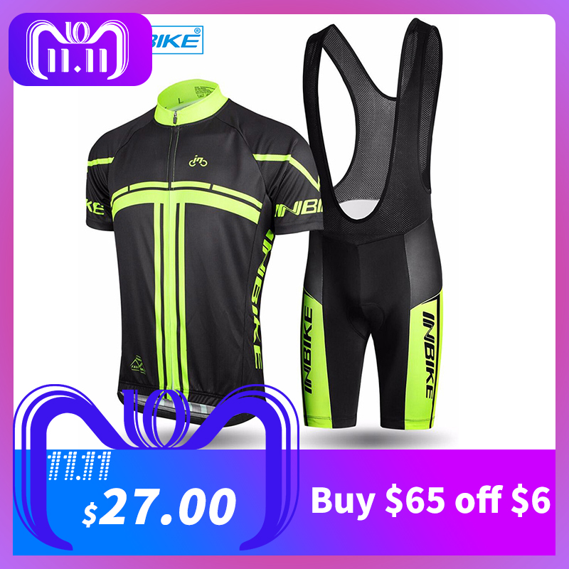 INBIKE 2018 Men's Cycling Jerseys Set for Outdoor Biking Bicycle Bib Sorts 3D Gel Padded MTB Bike Riding Short Pants ciclismo inbike outdoor cycling polyester spandex jacket pants for men white black