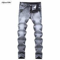 YiQuanYiMei Fashion Hot Sale Mens jeans Grey Casual Jeans Slim Feet Straight High Elasticity Fit Loose Waist Jeans For Men