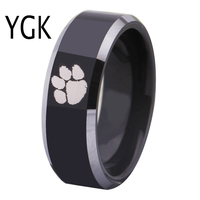 Free Shipping Customs Engraving Ring Hot Sales 8MM Black With Shiny Edges Clemson Tigers Design Tungsten