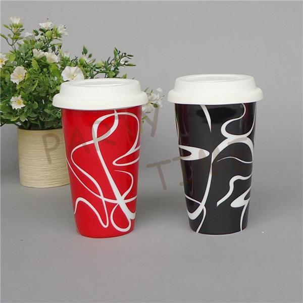 coffee mug with double wall ceramic travel mug with curve pattern antihot - Coffee Travel Mugs