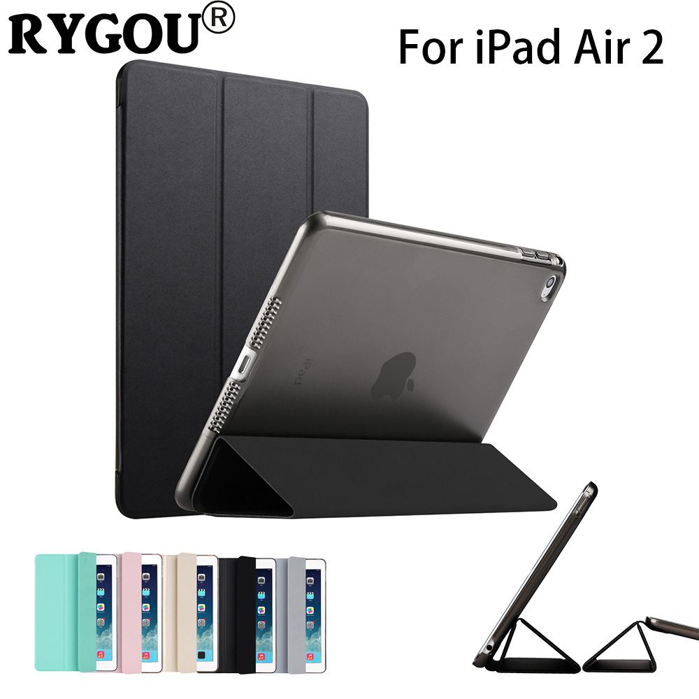 RYGOU For iPad Air 2 Case, Slim Pu Leather+Clear Hard Back Smart Cover Sturdy Stand Auto Sleep for iPad air2 ipad 6 Coque 2014 for apple ipad air 2 pu leather case luxury silk pattern stand smart cover