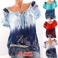 Plus Size 5XL Women Tops And Blouse Elegnat Print Floral Pattern Tie Lace Up Women Blouses