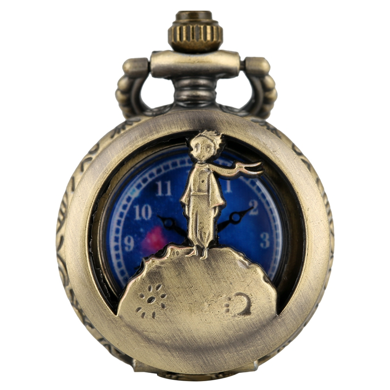 Fashion Bronze Pocket Necklace Chain Watch Men Little Prince Hollow-out Small Dial Watches Women Pendant Clock Piccolo Principe